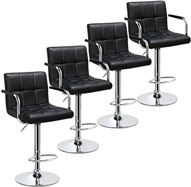 Yaheetech 4pcs Adjustable Bar Stools Kitchen Counter Barstools Bar/Counter Height Stool Chairs PU Leather Hydraulic Swivel Di