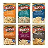 Idahoan Mashed Potatoes Variety Bundle of 6 4 oz. Wisconsin Cheddar, Monterey Pepper Jack, Applewood Smoked Bacon, Bacon and Cheddar Chipotle, Cheddar and Sour Cream, Smokey Cheese and Bacon