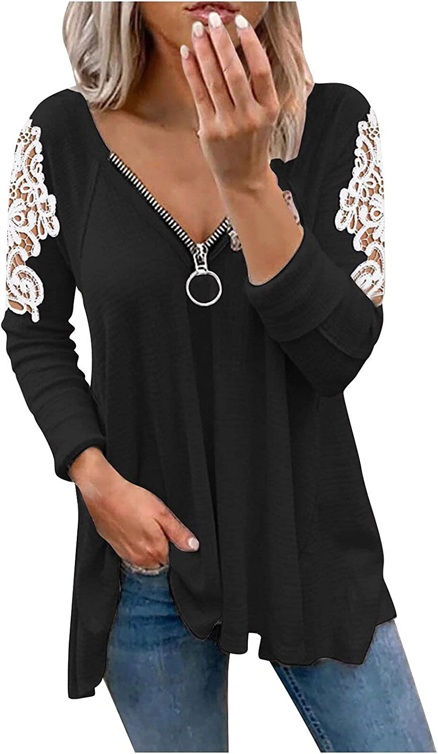 Hemlock Women Lace Long Sleeve Tops Elegant V Neck Shirt Solid Color Pullover Sweater Top Outwear
