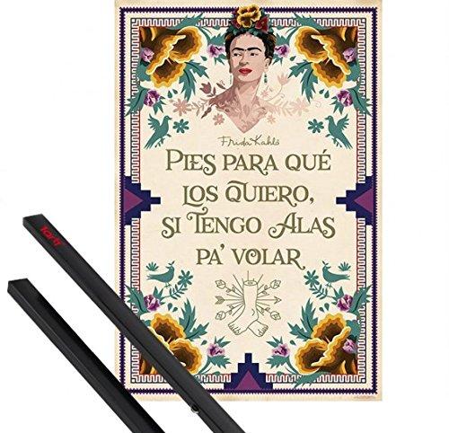 1art1 Frida Kahlo Póster (91x61 cm) Pies para Que Los Quiero, Si Tengo Alas Pa Volar Y 1 Lote De 2 Varillas Negras