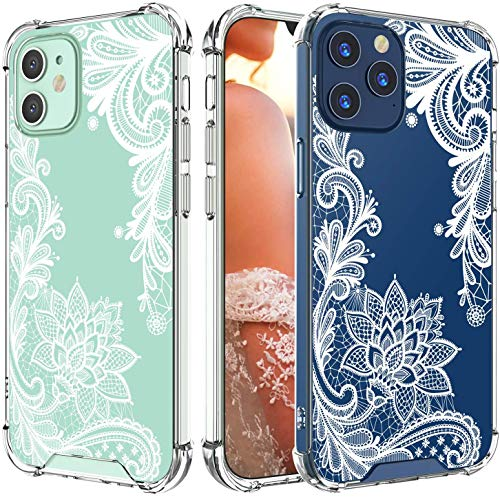 Cutebe Clear Case for iPhone 12,for iPhone 12 Pro, Shockproof Series Hard PC+ TPU Bumper Protective Case for iPhone 12/for iPhone 12 Pro 6.1 Inch 2020 Released White Floral Design for Women,Girls