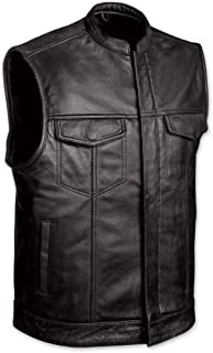 MEN'S SONS OF ANARCHY CLUB STYLE LEATHER VEST WITH 2 GUN 2 CHEST POCKETS SINGLE BACK PANEL