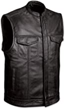 MEN'S MOTORCYCLE SONS OF ANARCHY BLACK CLUB STYLE LEATHER VEST W/GUN CELL GLASSES POCKETS