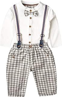 famuka 2 Pieces Baby Boys Long Sleeve Shirt Overalls Set