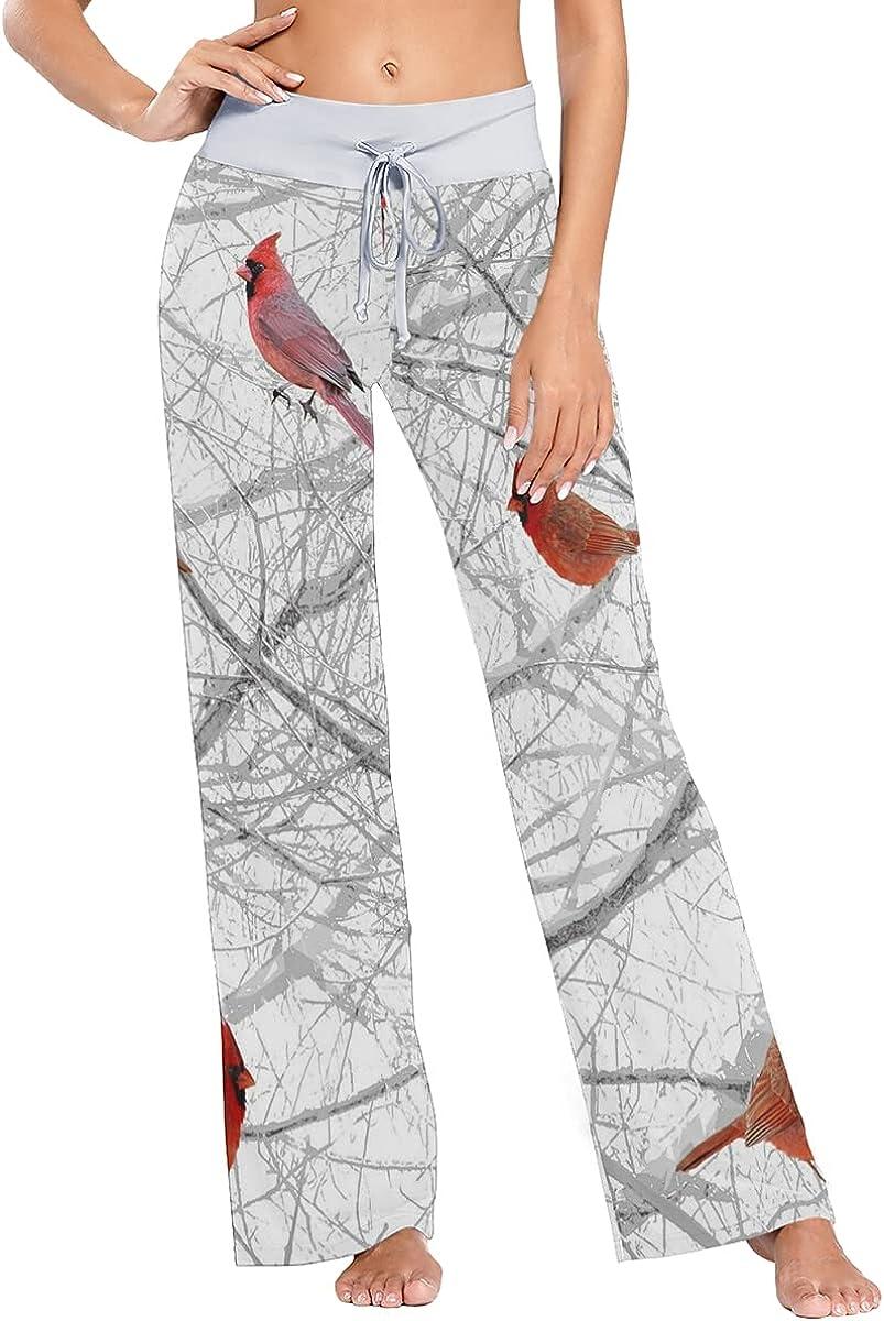 Women Pajamas Red Birds On Tree Pants Sleepwear Sweatpants Long