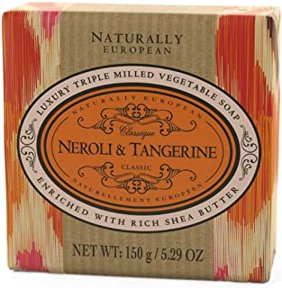 Naturally European Neroli & Tangerine Wrapped Luxurious Triple Milled Vegetable Soap Bar 150g