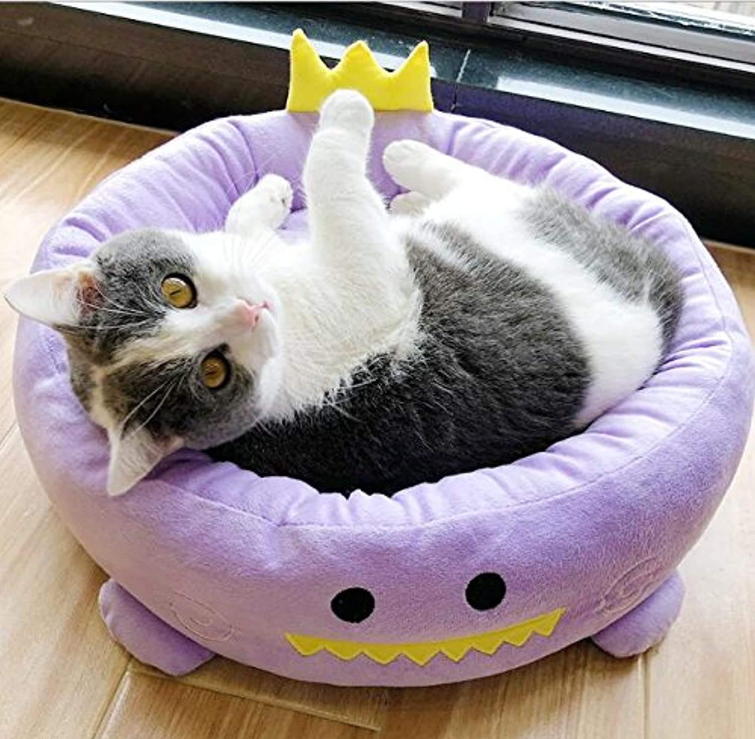 Cat Warmer Mat Removable and Washable Cartoon Round Kennel Dog Bed Round Nest Cat Universal Purple