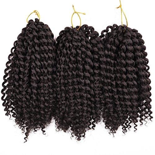 Premium 3 Bundles/pack Marlybob Kinky Curl Crochet Hair 8'' Crochet Braids Synthetic Braiding Hair Extensions For Women (2#)
