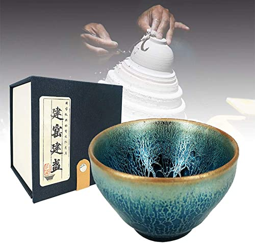 high quality Chinese Archaic 2021 Handmade Jian Ware Teacup, Imitation high quality of Traditional Song Dynasty JianZhan, Temmoku Black Glaze with Protean Veins, Collectible Cup for Tea and Coffee (Kirin's Thunder, 2.56 IN. 1.5 oz) outlet online sale
