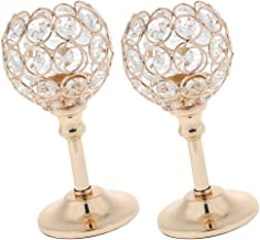 Fenteer 2pc Gold Mosaic Crystal Candle Holder