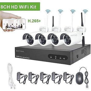 Kit de vigilancia de Video WiFi Aottom 1080P 8CH Kit de Seguridad inalámbrica 4 Camaras, Sistema de vigilancia de Video, Visión Nocturna, Detección Movimiento, Email Alarmas, App Android/iOS, sin HDD