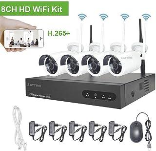 Kit de vigilancia de Video WiFi Aottom 1080P 8CH Kit de Seguridad inalámbrica 4 Camaras Sistema de vigilancia de Video Visión Nocturna Detección Movimiento Email Alarmas App Android/iOS sin HDD