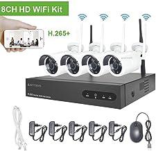Kit de vigilancia de Video WiFi Cámaras Aottom 720P Sistema de vigilancia de Video WiFi, 8ch NVR + 4pcs Cámaras WiFi, Visión Nocturna, Detección de Movimiento, Email Alarmas, P2P, APP Remotely, no HDD
