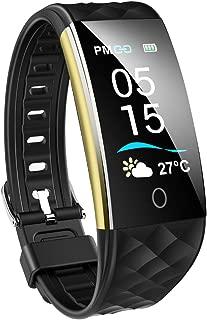 スマートウォッチ IP67防水 天気予報 スマートブレスレット 心拍 活動量計 歩数計 カラースクリーン Line/Twitter/着信/電話通知 消費カロリー 腕時計 メンズ 日本語説明書 iPhone&Android対応 (ブラック)