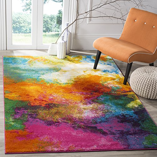 SAFAVIEH Watercolor Collection WTC619D Colorful Boho Abstract Non-Shedding Living Room Bedroom Dining Home Office Area Rug, 8' x 10', Orange / Green