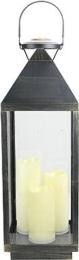 "Northlight 24"" Large Gold Brushed Black Candle Lantern with Flameless LED Candles"