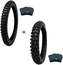 MMG Tire Set Off Road Knobby Front Tires Size 80/100-21 with Inner Tube + Rear Tire Size 100/90-19 with Inner Tube