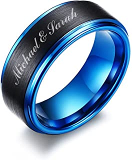 Personalized Free Custom Engraving Two-Tone Brushed Finish Tungsten Carbide Custom Name Wedding Ring Band for Men