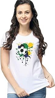 Artistic Football Design Print Cotton Matching Shirt Women Tee