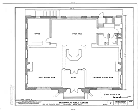 Historic Pictoric Blueprint Diagram HABS IND,49-IND,31- (Sheet 3 of 6) - Indianapolis Public Library, 2822 East Washington Street, Indianapolis, Marion County, in 14in x 11in