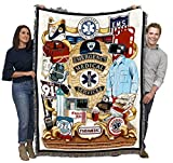 EMS - First Responders - Cotton Woven Blanket Throw - Made in The USA (72x54)