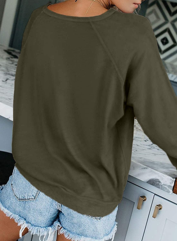 Yanekop Womens Solid Loose Crewneck Sweatshirt Casual Long Sleeve Pullover Tops Shirt