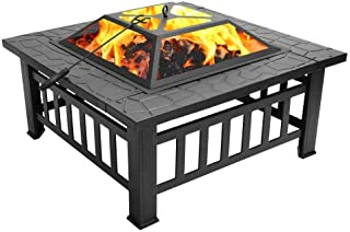 32 Inch Heavy Duty 3 in 1 Metal Square Patio Firepit Table BBQ Garden Oven with Spark Screen Cover Wood Grate and Poker fo...