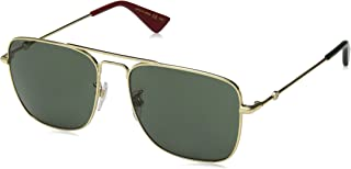 Gucci Men's GG0108S 003 Sunglasses, Gold/Green, 55