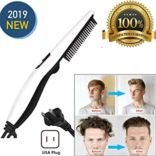 Peedeu Electric Hair Comb Beard Straightener (Upgrade) for Men, Men's Straightening Comb Curly Hair Straightener Curler Comb, Hair Straightening Brush With Side Hair Detangling For Men Hair Styling