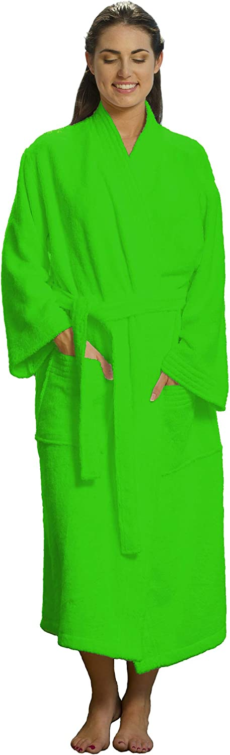 Embroidered Terry Cotton Women and Men Robes, Terry Kimono Bathrobes for Shower Bath Cover Up Towels, Apple Green, Size S M