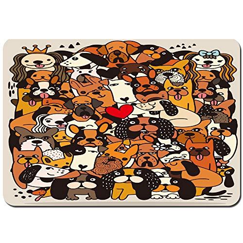 Antideslizante Alfombra De Baño,Ilustración de Vector Dibujado a Mano de Perros de Dibujos Animados Divertidos Doodle Lindo,Alfombra de Cocina Alfombra Mascota,Alfombras de Ducha 75x45cm