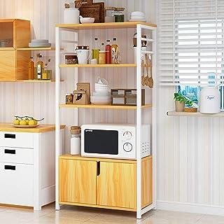Rangement Cuisine Organisateur étagère Cuisine Baker Rack avec des armoires à 4 étages Shelf Four stand avec rangement Off...