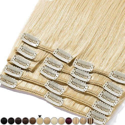 Clip In Extensions Echthaar Remy Haarverlängerung 100% Echthaar für komplette Glatt 20cm-65g (#24 Natürlich Blond)