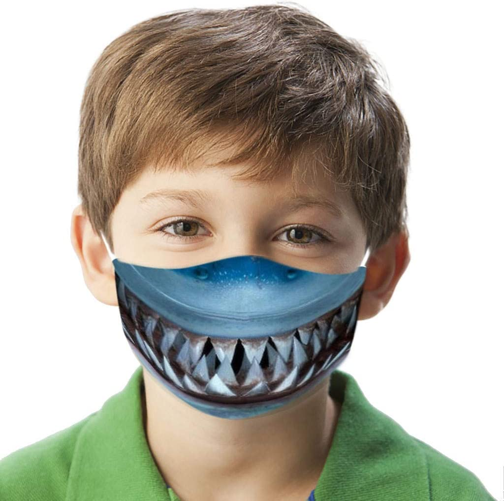 B Schedar Kids Dustproof Face Bandanas Funny Shark Teeth Print Breathable Half Face Wear Bandana Reusable Mouth Wrap Washable Cotton Face Balaclava Unisex Protective Windproof Face Wrap