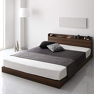 ベッド 低床 ロータイプ すのこ 木製 LED照明付き 宮付き 棚付き コンセント付き シンプル モダン ブラウン セミシングル ベッドフレームのみ 『Aperty』アペルティ