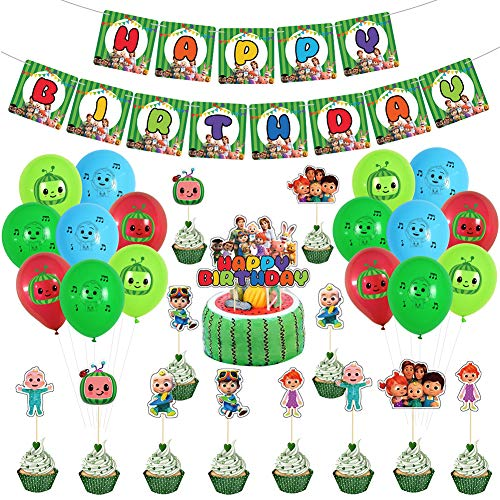 CYSJ Geburtstag Dekoration Set 30 PCS Cocomelon Rotorspiralen Happy Birthday Banner Cake Topper Deko Spirale Konfetti Partykette für Kinder Geburtstags Babyparty Hochzeits Abschluss Party
