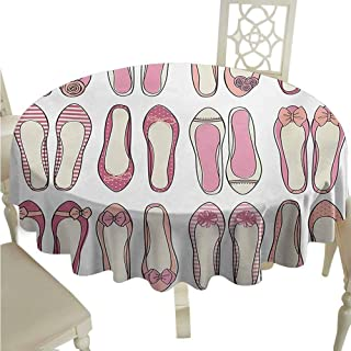 duommhome Girls Spill-Proof Tablecloth Ballerina Shoes with Ribbon Roses Stripes and Polkadots Stylish Feminine Kids Design Easy Care D71 Pink Beige