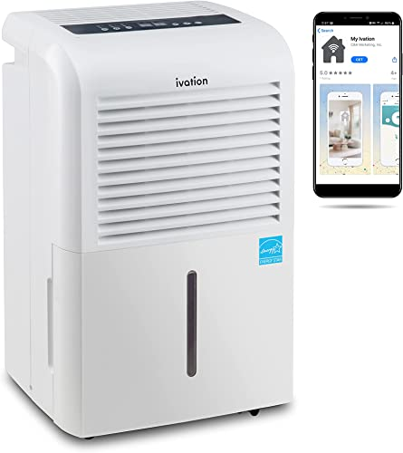 lowest Ivation 4,500 Sq Ft Smart Wi-Fi Energy Star Dehumidifier with App, Continuous Drain Hose Connector, Programmable Humidity, 2.25 Gal Reservoir for Medium and Large sale outlet sale Rooms (4,500 Sq Ft With Pump) outlet online sale