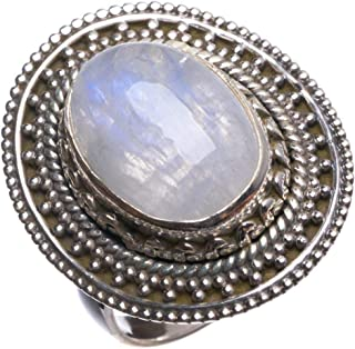 Natural Rainbow Moonstone Handmade Boho 925 Sterling Silver Ring, US Size 6 T7444