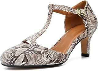 fereshte Women's Men's Mary Jane T-Strap Round Toe Mid Kitten Heel Pumps Shoes