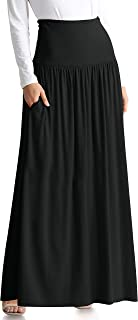Simlu Womens Long Maxi Skirt with Pockets Reg and Plus Size - Made in The USA