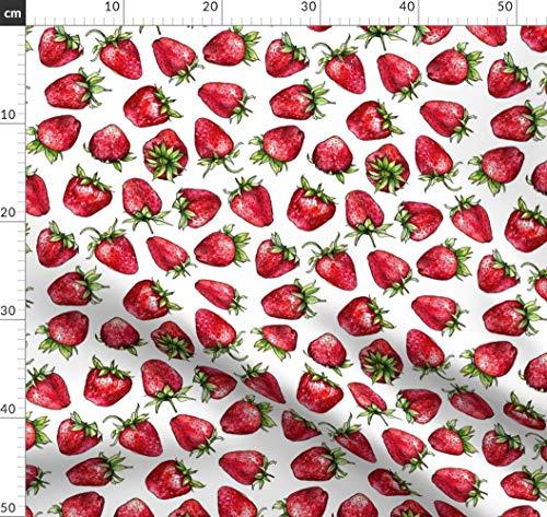 Obst, Essen, Rot, Sommer, Erdbeere, Erdbeeren, Valentinskarte Stoffe - Individuell Bedruckt von Spoonflower - Design von Hipkiddesigns Gedruckt auf Baumwollstoff Klassik