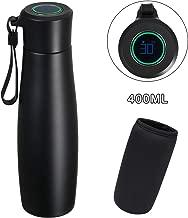 flintronic® Taza de Viaje, 400ML Vacuum Cup Travel Mug, Frasco de Vacío de Acero Inoxidable 304, Pantalla LCD Táctil Inteligente con Temperatura (1 Cable USB y Bolsa de Botella Incluidos) - Negro