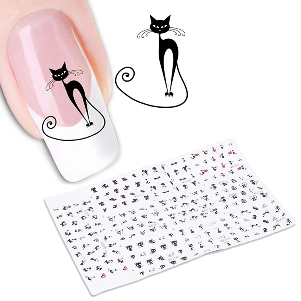 敬意先に排泄する貼るだけでいい 3Dネイルシール ネイルシール ネイルステッカー デコレーション ナイルアート ナイル飾り ナイル装飾 カット 猫 可愛い