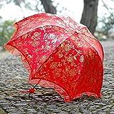 YZMBYUSAN Regenschirm Hochzeit Regenschirm Mode rote Rose drucken Braut regenschirme Dame Sonnenschirm Falten -