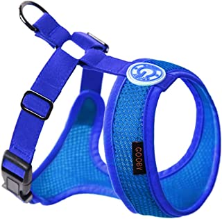 Gooby - Freedom Harness II, Choke Free Mesh Harness for Small Dogs with Microsuede Straps, Blue, X-Small