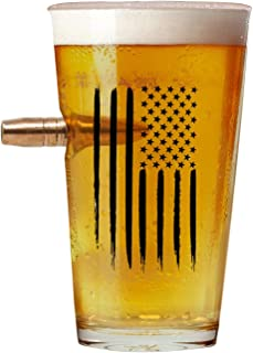 American Flag Pint Drink glasses .50 Caliber Designed Hand Blown Large Size Glasses USA Patriotic Gift .50 Cal Projectile ...
