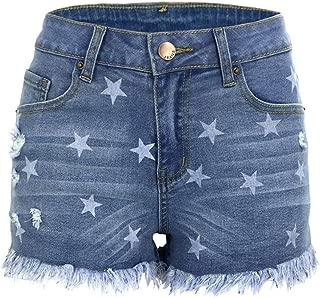 Atditama Women's Mid Waist Sexy Skinny Slim Butt Lift Frayed Raw Stars Print Ripped Denim Shorts Jeans