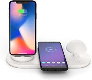 Omio Fast Wireless Charger Desk Lamp LED 3 in 1 Mushroom Night Light Phone Holder Wireless Charging Pad for iPhone/Micro/Type-C for iPhone 11 Pro Max/XS Max/XR/X/8 Plus/Galaxy Note 10/9/S10+/S10 More