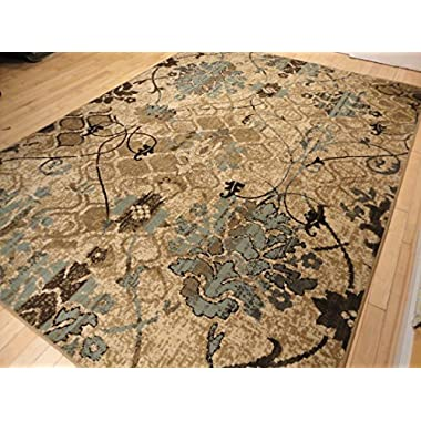 AS Quality Rugs Contemporary Rugs For Living Room Dining Area Rugs 5x8 Clearance Under 50 Bed Room Rugs Office Rugs Blue Carpet Beige Cream Modern Rug